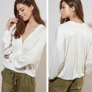 Mustard Seed surplice front blouse ivory Small